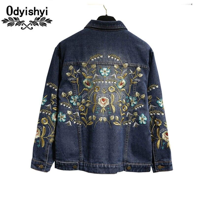 5XL Autumn Long sleeve Jeans Jacket Plus size Women New Dark Blue Embroidery Flower Befree Cowboy Outwear Female Coat Tops HS47-in Jackets from Women's Clothing    1