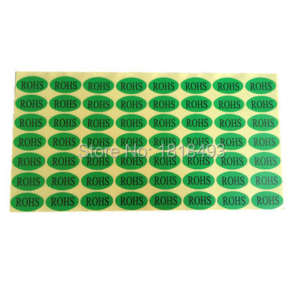 free shipping wholesales stock oval shape ROHS sticker 1.3x2.5cm/environmental protection sticker/custom sticker 840 pcs a lot