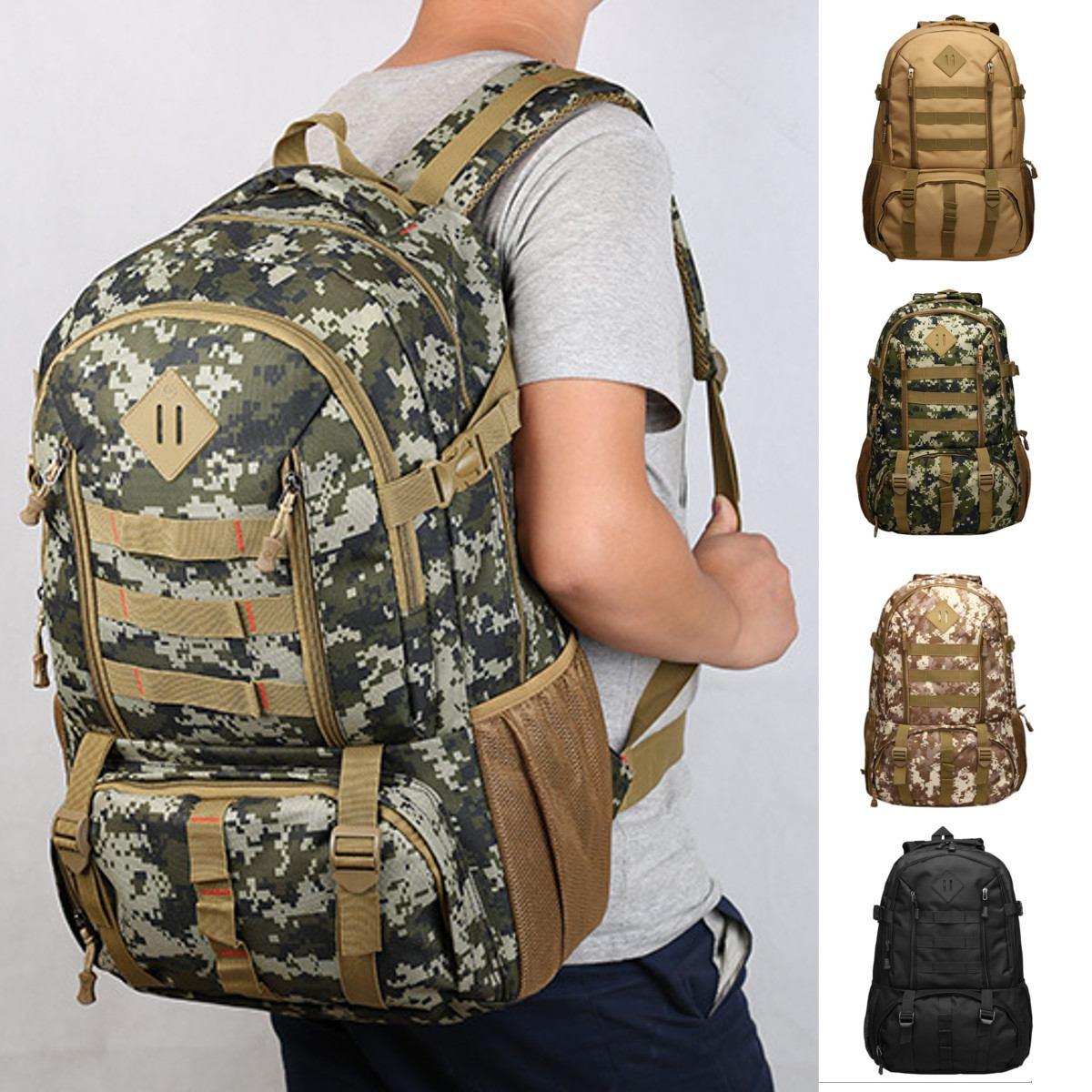 Grande 50l náilon saco de escalada militar ao ar livre molle esporte caminhadas acampamento ombro mochila viagem montanhismo