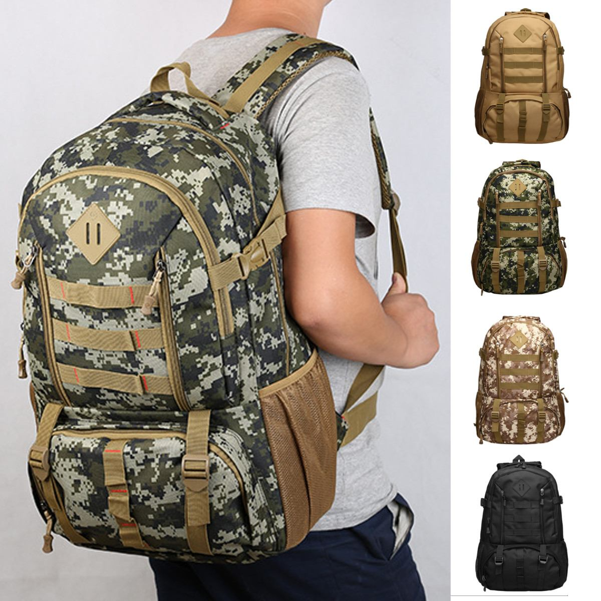 Large 50L Nylon Outdoor Military Climbing Bag Molle Sport Hiking Camping Shoulder Backpack Travel Mountaineering Rucksack