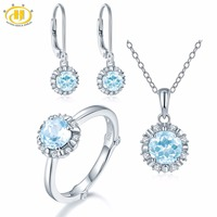 Hutang Natural March Birthstone Aquamarine Solid 925 Sterling Silver Ring Pendant Earrings Gemstone Jewelry Sets Presents Gift