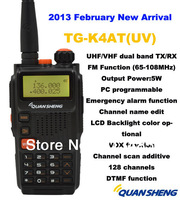 2013 February New Arrival Good Quality Quansheng TG K4AT(UV) Dual Band 5W 128CH FM Portable Two way Rdio
