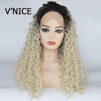 V'NICE Ombre Blonde Wig Kinky Curly Glueless Synthetic Lace Front Wigs for Black Women High Temperature Fiber Natural Hair