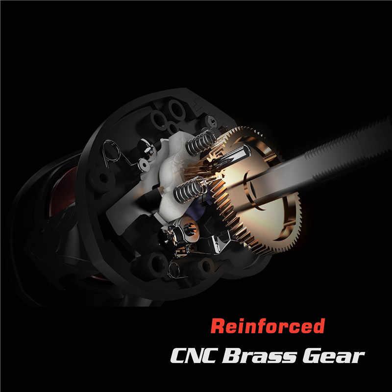 JITAI Baitcasting moulinet de pêche en alliage d'aluminium poignée bouton en acier inoxydable 12BBs 8KG en Fiber de carbone glisser Carretilha roues de bobine