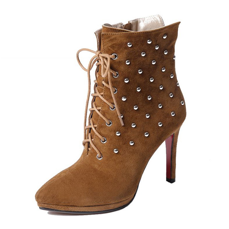 ФОТО Fashion 2017 Genuine Leather  High Heels Fall Winter Boots Rivets Zip Ankle Boots High Quality Lace Up Female Footwear