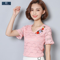 EL BARCO New Floral Embroidery Lace Chiffon Blouse Shirt Women Summer Short Sleeve V Neck