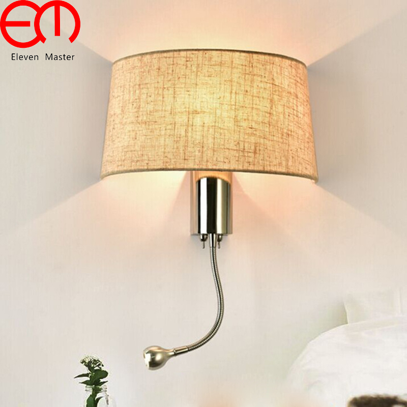 Led fabric wall light modern bedroom bedside wall lamp with switch reading spot lighting stairway wall sconce fixture WWL073 simple modern led wall lamp reading switch adjust wall light fixtures home fabric shade bedside wall sconce indoor lighting