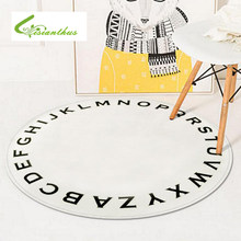 Nordic Style Round Carpets for Living Room Computer Chair Area Rug Children Bedroom Floor Mat Letter Printed Cloakroom Rugs(China)