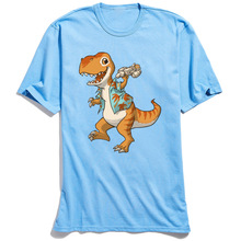 Just Keep Flying T-shirt For Man Cartoon Tshirt T-rex Shirts Printed Guys Summer Cotton Clothes Funny Father Tops Blue