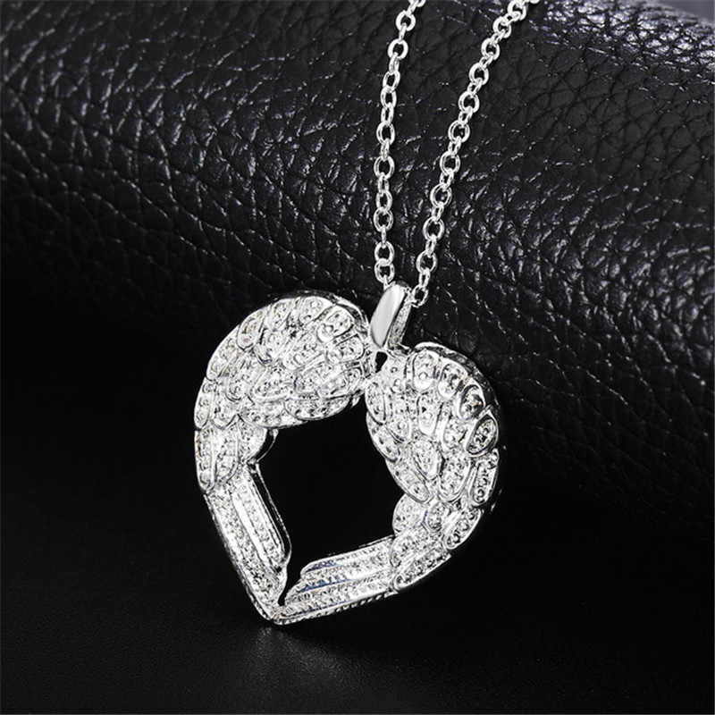 Elegant Angel Wing Design Hollow Love Heart 925 Sterling Silver Pendant Cute Link Chain for Women Necklace Jewelry