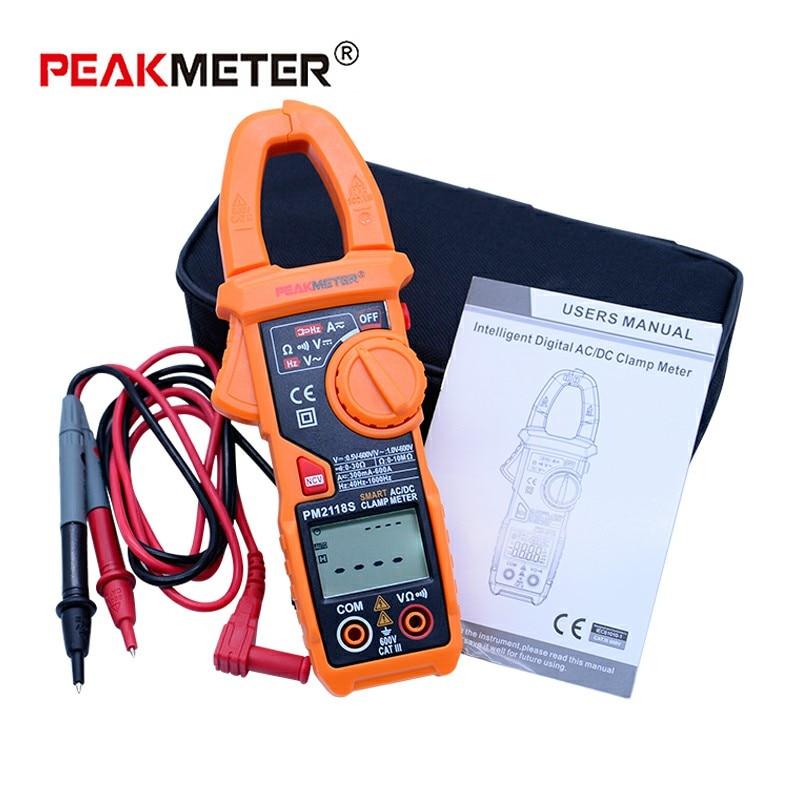 PEAKMETER PM2118S Digital clamp meter ac dc Handheld Mulitmeter auto range with LCD backlight display
