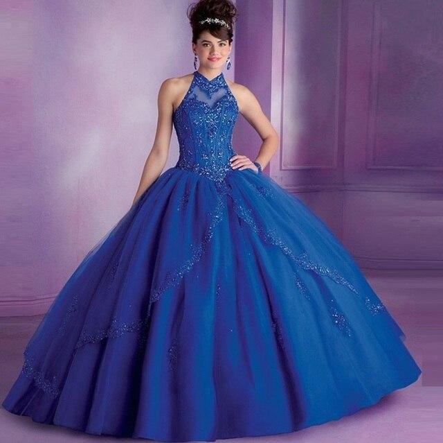 Azul Royal Vestidos Quinceanera 2017 vestido de Baile Alta Collar Sweet Sixteen Vestidos Quinceanera Frisado Vestidos Vestido De Debutante