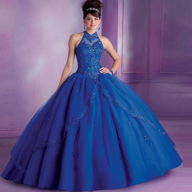 bf56ce315fb Royal Blue Quinceanera Dresses 2017 Ball Gown High Collar Sweet Sixteen  Dresses Beaded Quinceanera Gowns Vestido