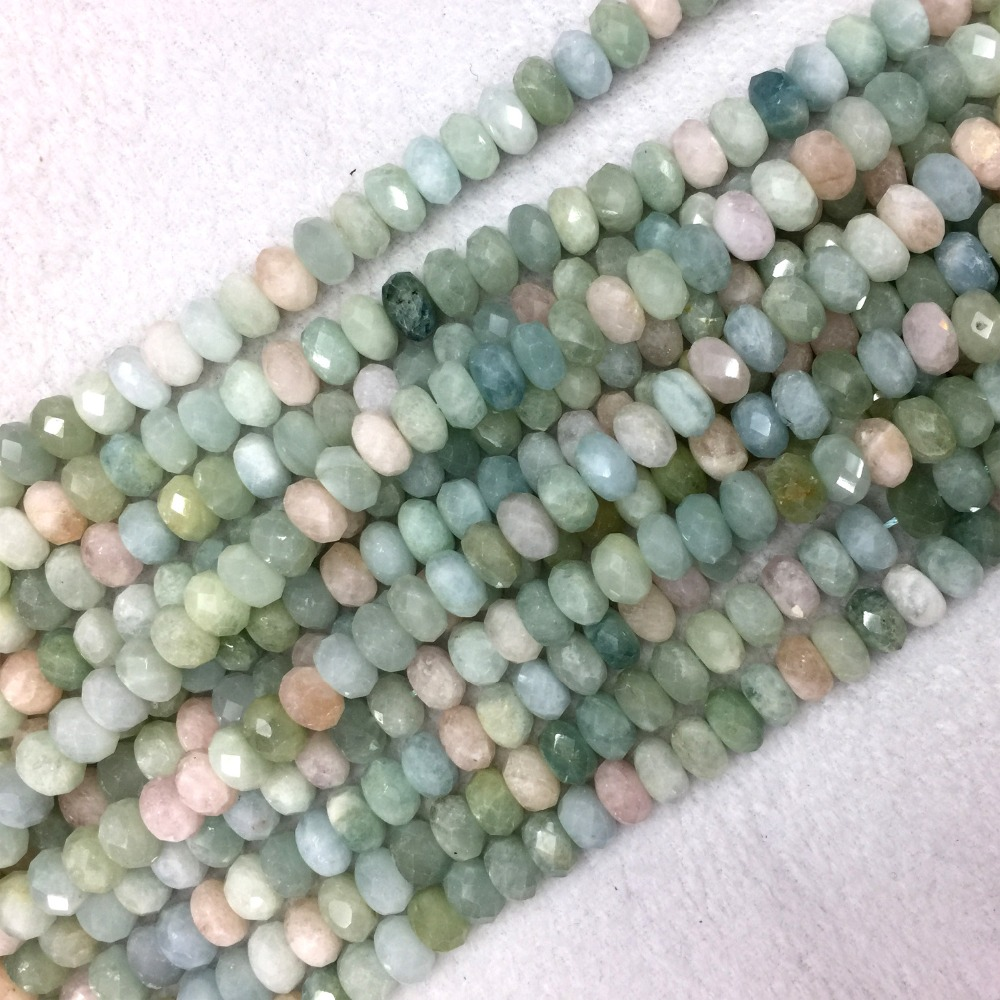 """5x8mm Natural Faceted Green Emerald Rondelle Gemstone Loose Beads 15/"""" AAA"""