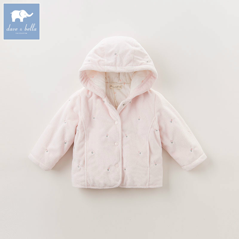 DB5919 dave bella autumn infant baby girls coat fashion clothes toddler print Hooded coats children high quality tops