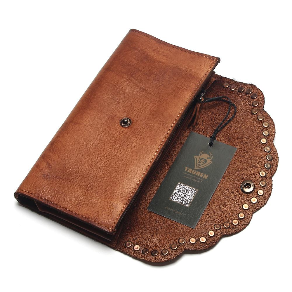 Image 3 - TAUREN Brush Color Clutch Anchor Nail Genuine Leather Women 