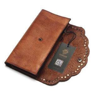 Image 3 - TAUREN Brush Color Clutch Anchor Nail Genuine Leather Women Wallets Purse Long Design High Capacity Cell Phone Pocket Coin Purse