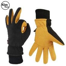 Ski Gloves Winter Waterproof Thermal Mittens for Men & Women Yellow and Black Deerskin Suede Leather