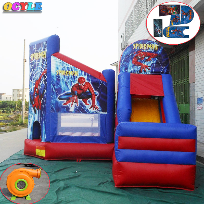 hot OCYLE commodity free shipping PVC 7.5x4.5x4m tarpaulin inflatable bouncers with slide for kids and baby