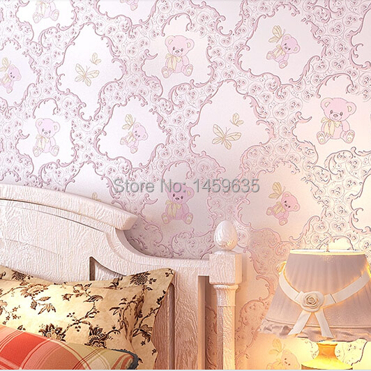 ФОТО Promotional new European nonwovens Children Bedroom warm atmosphere cute cartoon boy and girl baby pink bear wallpaper