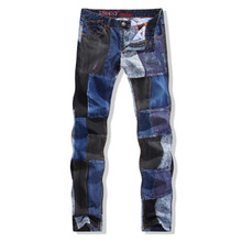 The new European men's winter straight jeans slim jeans wholesale men stitching