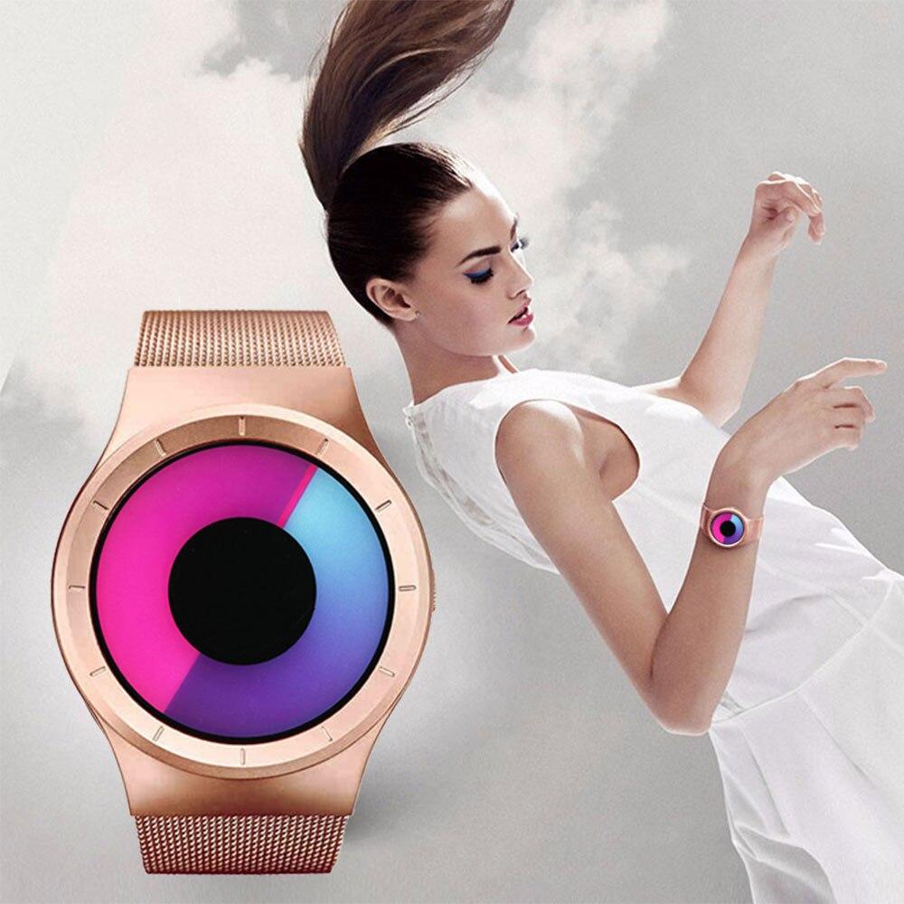 Relogio Creative Quartz montres femmes Top marque décontracté en acier inoxydable maille bande unisexe montre hommes horloge femme dames cadeau