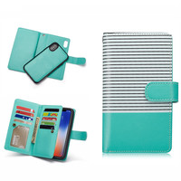 Leather PU Lanyard Flip Case with Card Slots and Removable Slim Back Cover for iPhone X XR XS MAX 5 5S SE 6 6S 7 8 6p 6sp 7p 8p