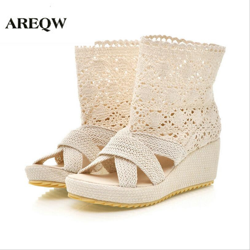 AREQW 2017 summer new knitted sandals women wedges fish mouth high-heeled women breathable wild students sandals women sandals 2017 summer gauze high heeled shoes lace fish mouth women sandals fashion summer ankle boots s069