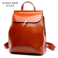 SUNNY SHOP Japan And Korean Style Genuine Leather Women Backpack Vintage School Backpack For Girls Brand