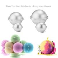 6Pcs Metal Aluminum Alloy Bath Bomb Mold 3D Ball Sphere Shape DIY Bathing Tool Accessories H7 H7