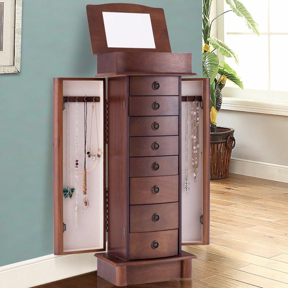 Giantex Armoire à bijoux Armoire de rangement coffre boîte support organisateur bois cadeau de noël meubles de maison HW56420