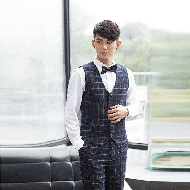 Size S-3XL Fashion British Plaid Men Casual Business Dinner Party Black Suit Vest Wedding Groom Waistcoat Colete Chaleco Hombre