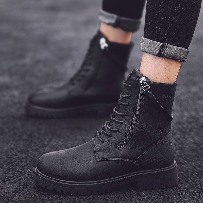 Martin bottes haute aide chaussures bottes en plein air Sport loisirs temps chaussures en cuir hommes confortable respirant haute qualité chaussures de sécurité