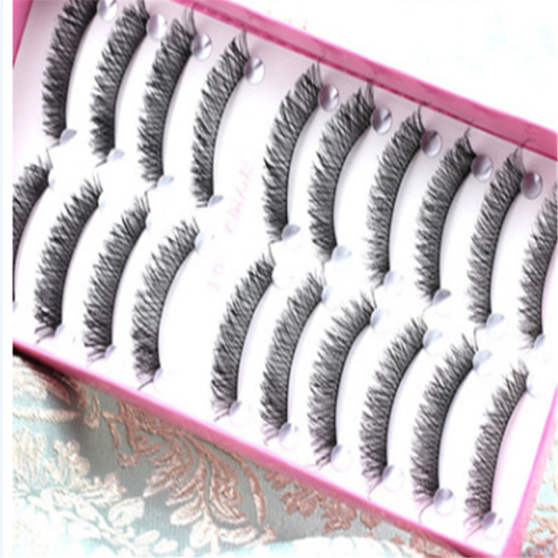 10 pairs False Eyelashes 3D mink eyelashes natural long cotton stalk handmade weaving cross woman comestic makeup tool kit