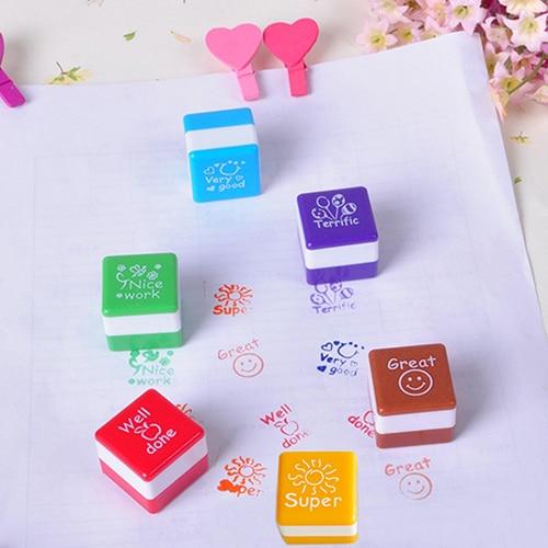 Cute Cartoon Kids Stamp Set Teachers Self Inking Praise Reward Stamps Motivation Sticker School Scrapbooking