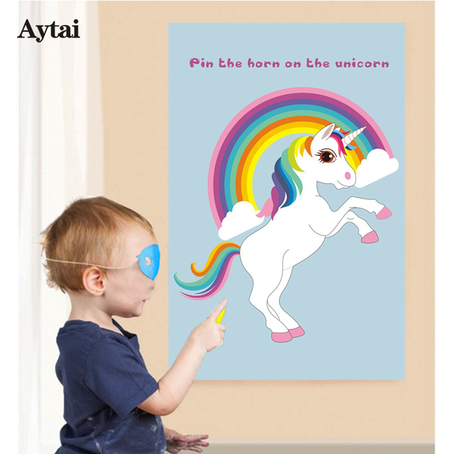 aytai 5pcs diy unicorn party game pin the horn on the unicorn