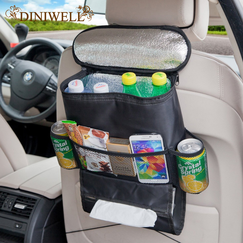 DINIWELL Bolsa de almacenamiento para el coche Organizador universal para colgar Enfriador con Aislamiento Momia Cochecito de bebé Bolsillos para viaje Asiento de atrás del coche