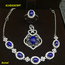 KJJEAXCMY boutique jewels 925 silver inlaid with natural turquoise gold stone lady pendant ring bracelet 3 pieces to send neckla natural burma bracelet a cargo bracelet ice waxy kind of violet bracelet send certificates send jewelry box