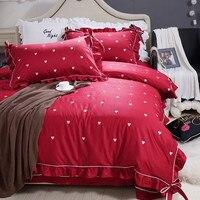 Satin Long Staple Cotton Duvet Cover Romantic Love Princess Bed Sheets Festive Red Wedding Bedding Set