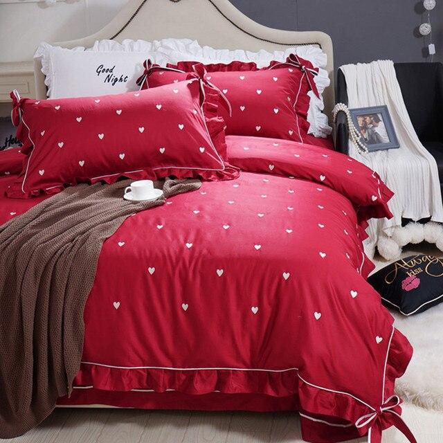 2018 Satin Long Staple Cotton Duvet Cover Romantic Princess Bed Sheets  Festive Red Wedding Bedding Set