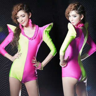 Party Singer Performance Clothing DS Club Fluorescent Siamese Costumes Stage Romper Slim Jumpsuits