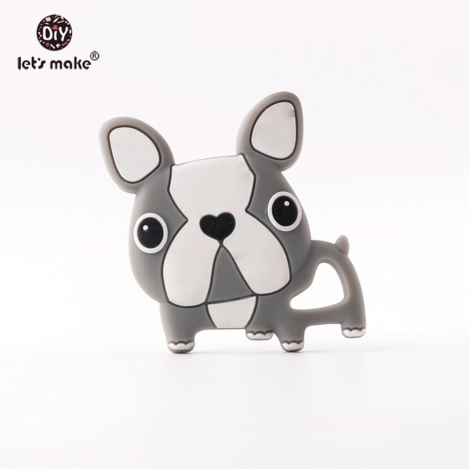 Lets make Cartoon Gray French Bulldog Teething Dog Pendant For Bracelets Making Lovely Boys And Girls Baby Silicone Teethers