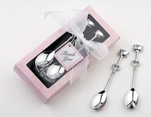 00pcs/lot Love Heart Spoons Coffee Spoon Wedding Favor Guest Gift 2 in 1 box, Free Shipping