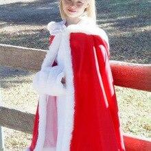 Длинная накидка в пол с капюшоном, цвета слоновой кости, белые свадебные плащи, куртка из искусственного меха для зимы, Детская верхняя одежда с цветочным узором для девочек