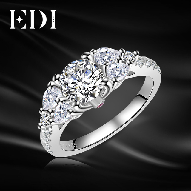 edi luxury classic real 125ct moissanite diamond wedding rings 14k 585 white gold 3 - Real Diamond Wedding Rings