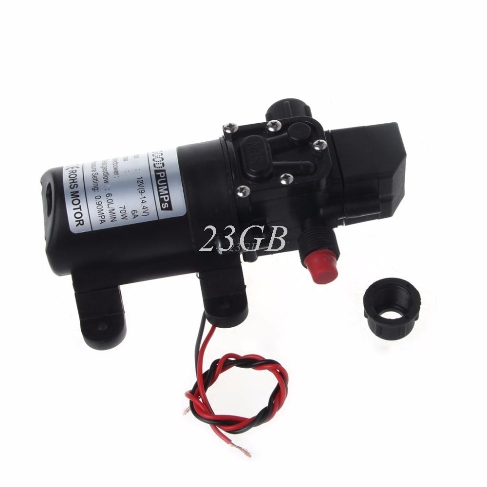 DC 12V Water High Pressure Diaphragm Self-Priming Pump 70W 130PSI 6L/Min A18_15 70w dc 12v 130psi 6l min water high pressure diaphragm self priming pump