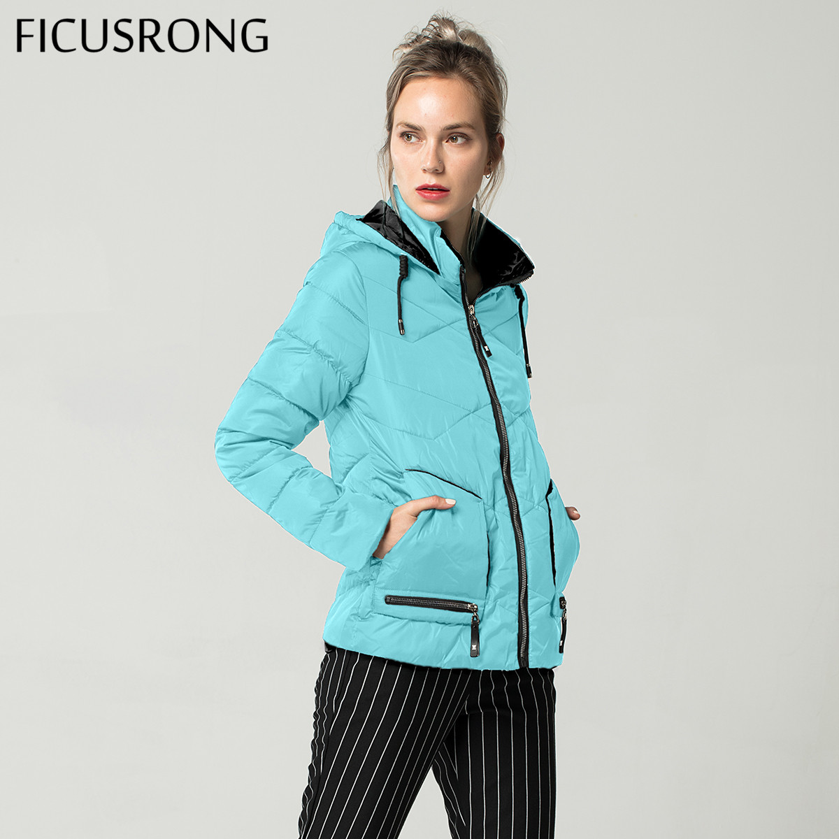 FICUSRONG 2018 New Fashion Slim Cotton Padded   Basic     Jacket   Female Autumn Winter   Jacket   Women Outerwear Womens Hooded Coats Tops