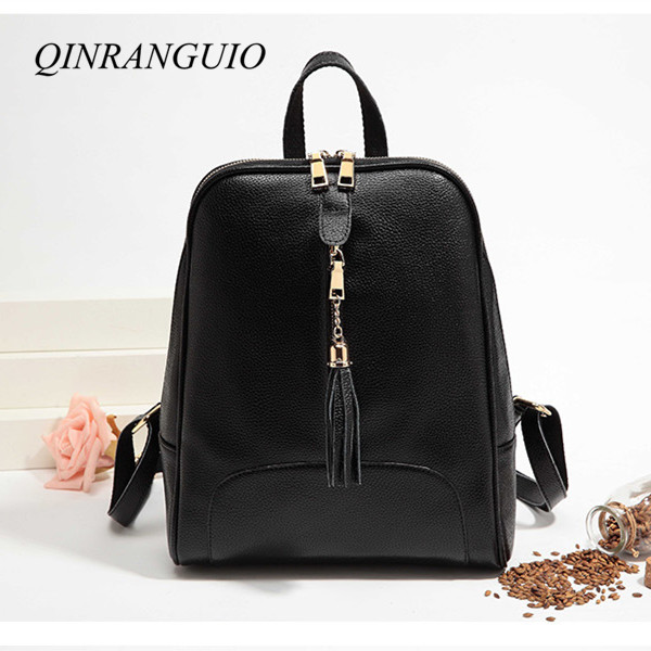 QINRANGUIO Women Backpack Tassel PU Leather Backpack Women 2018 Ladies Backpack Travel Bag School Bags for Teenage Girls 4pcs set women fashion backpack pu leather teenage school bag casual clutch crossbody travel bags for girls with purse and bear