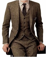 Brown Tweed Men Suits 3 Pieces Formal Business Suit Set Custom Gentle Mens Groom Wedding Dress Blazer Suit(Jacket+Pants+Vest)