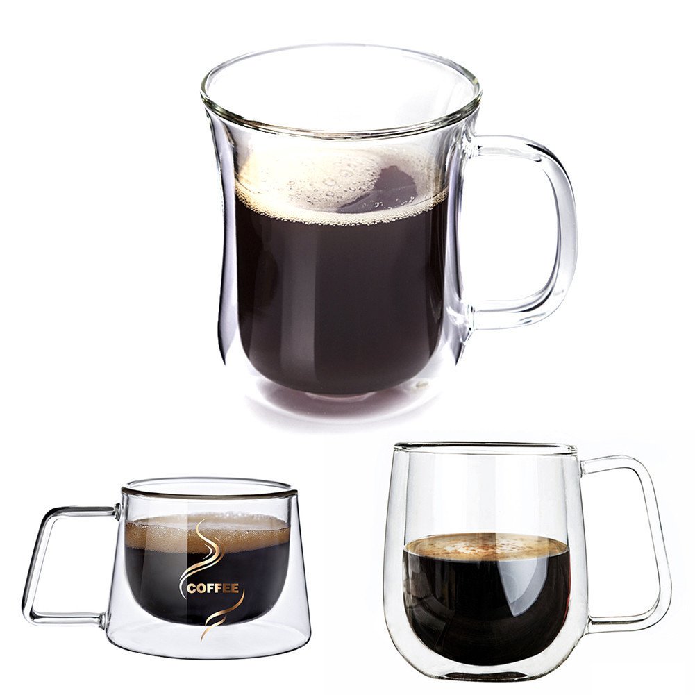 1 Pcs Transparent Double Layer Glass Tea Heat Resistant Cup Coffee Mug Insulation Cup Whisky Drink European Coffee Glass